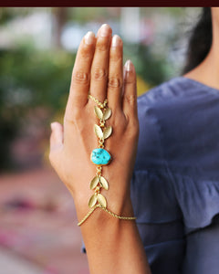 FOREST PRINCESS - TURQUOISE ADJUSTABLE 18K GOLD PLATED HAND CHAIN / HAND ARREST