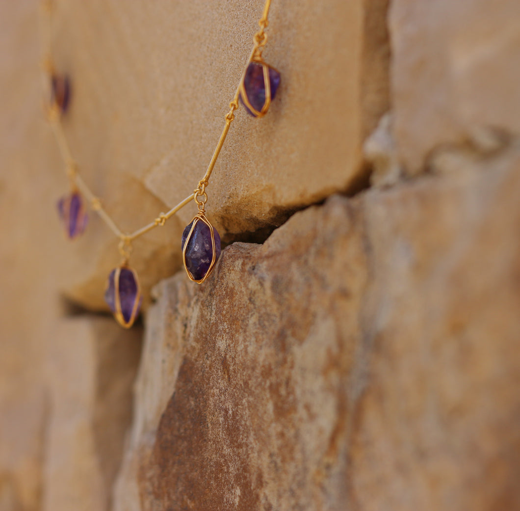 NATURAL STONE WIRE WRAPPED NECKLACE 18K GOLD PLATED