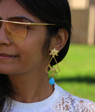 BIRD ON THE BRANCH TURQUOISE 18K GOLD PLATED EARRINGS