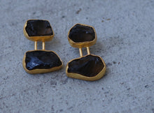 BRICK EARRINGS 18K GOLD PLATED EARRINGS GERNET / AMETHYST / CITRINE / SMOKY QUARTZ / ROSE QUARTZ