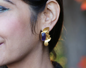 HALF BUTTERFLY 18K GOLD PLATED EARRINGS TURQUOISE / AMETHYST /  SMOKY QUARTZ / CLEAR QUARTZ / ROSE QUARTZ / CITRINE / GARNET / FLUORITE