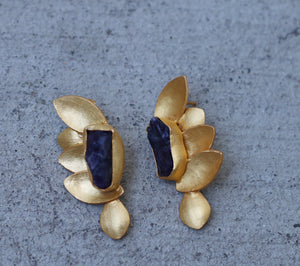 AMETHYST HALF BUTTERFLY 18K GOLD PLATED EARRINGS