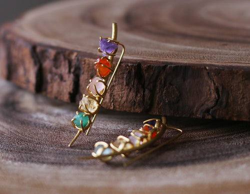 CLEAVE 18K GOLD PLATED EARIINGS AMETHYST/ GARNET / ROSE QUARTZ/ CITRINE