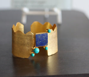 ANTIQUE EGYPTIAN STYLE 18K GOLD PLATED ADJUSTABLE CUFF LAPIS LAZULI / TURQUOISE