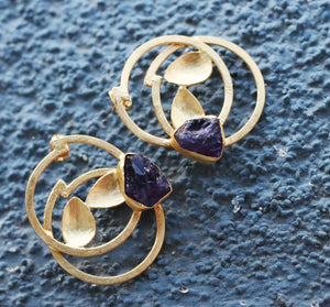 DOUBLE LEAF 18K GOLD PLATED EARRINGS AMETHYST / ROSE QUARTZ / CITRINE /