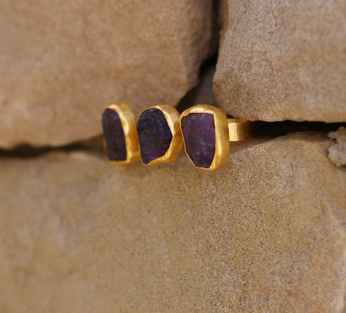 DOUBLE FINGER ADJUSTABLE AMETHYST / CITRINE / SMOKY QUARTZ 18K GOLD PLATED RING