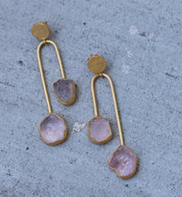 BALANCE 18K GOLD PLATED EARRINGS ROSE QUARTZ/ CITRINE / GARNET / PEARL