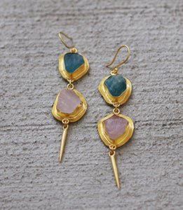 18K GOLD PLATED FLUORITE AND ROSE QUARTZ EDGE HOOK EARRINGS