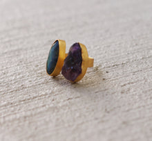 GEMINATE 18K GOLD PLATED ADJUSTABLE RING LABRADORITE / AMETHYST / TURQUOISE