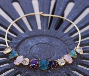 MULTI STONE AMETHYST CITRINE ROSE QUARTZ AQUAMARINE 18K GOLD PLATED CHOKER