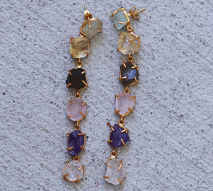 MULTI STEP NATURAL STONE DANGLERS 18K GOLD PLATED ROSE QUARTZ / CITRINE / AMETHYST / SMOKY QUARTZ