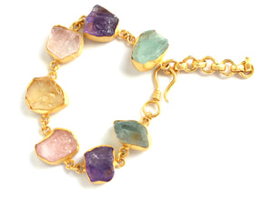 SINGLE STONE BRACELET 18K GOLD PLATED AMETHYTS/ ROSE QUARTZ/ AQUAMARINE/ CITRINE