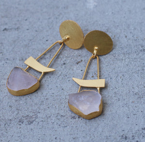 SLASH 18K GOLD PLATED EARRINGS GARNET / CITRINE / ROSE QUARTZ / TURQUOISE / AMETHYST