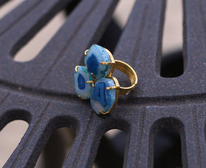 THREE STONE 18K GOLD PLATED ADJUSTABLE RING
