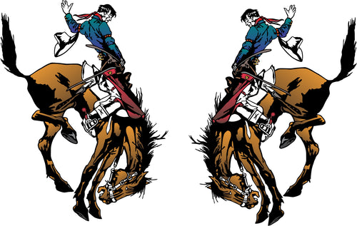 Rodeo Bronc Rider Sticker (Pair)