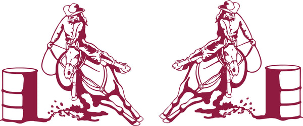 Rodeo Barrel Racer Bug Deflector Sticker (Pair)