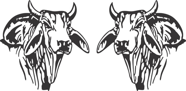 Brahman Bull Head Sticker (Pair)