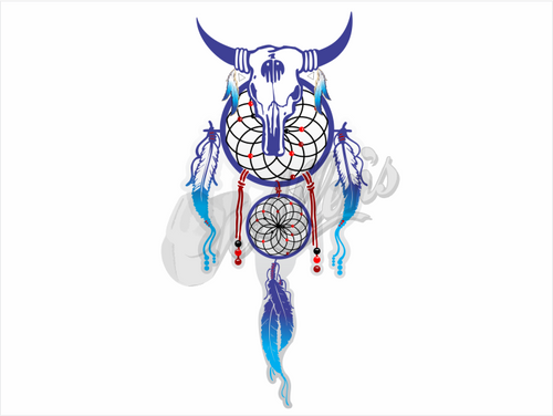 Dream Catcher Skull Sticker (Pair)