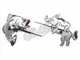 Barra vs Boar Stickers (1 x each)