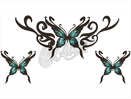 Butterfly with Wave Scroll Sticker (Set)