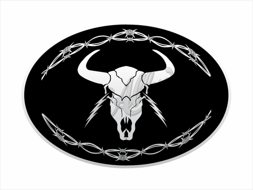 Lightning Skull & Barb Wire Sticker (Pair)