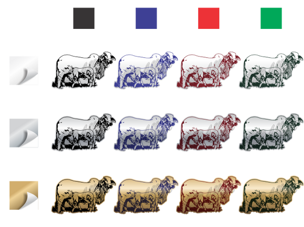 Brahman Cow & Calf Sticker (Pair)