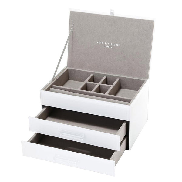 Shop Jewellery Box - White Glass Medium at Rose St Trading Co