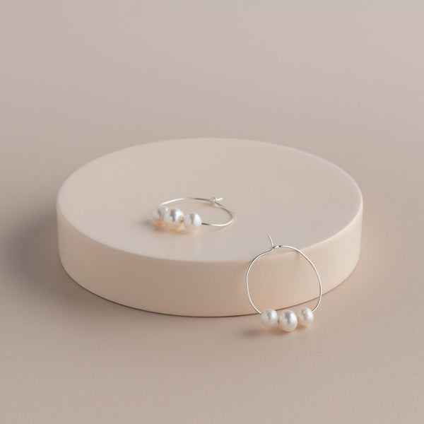 Shop 3 Pearl Circle Hoop Earring at Rose St Trading Co