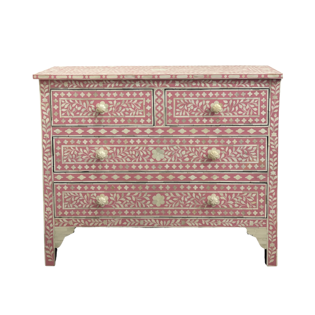 Shop Bone Inlay 2 Drawer Chest | Pink at Rose St Trading Co
