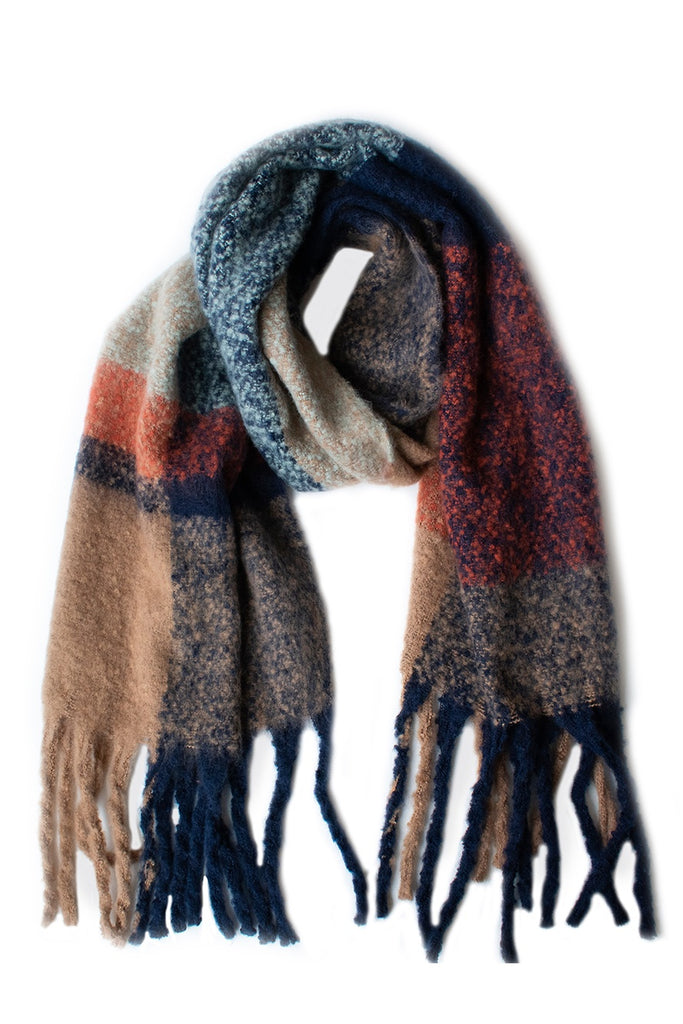 Shop Block Design Scarf | Tan/Indigo at Rose St Trading Co
