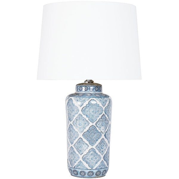 Shop Blue Motif Lamp White Shade at Rose St Trading Co