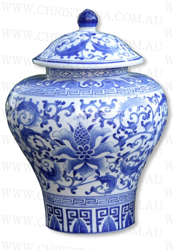 Shop Blue + White Ming Temple Jar | 35cm at Rose St Trading Co