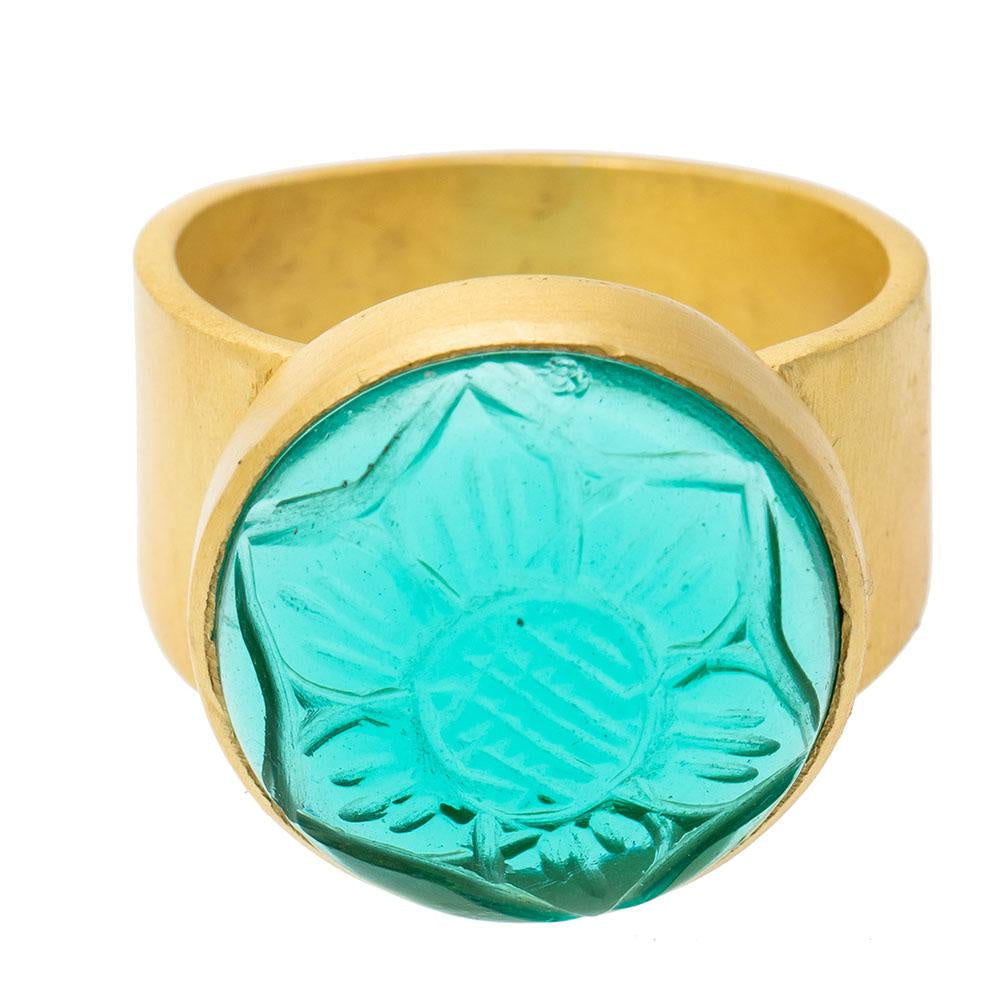 Shop Carved Round Apatite Glass Ring at Rose St Trading Co