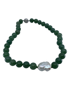 Shop Green Jade & Baroque Pearl Necklace at Rose St Trading Co