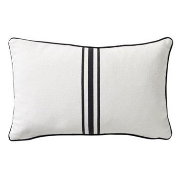 Shop Striped Cotton Cushion | Black 30 x 50cm at Rose St Trading Co