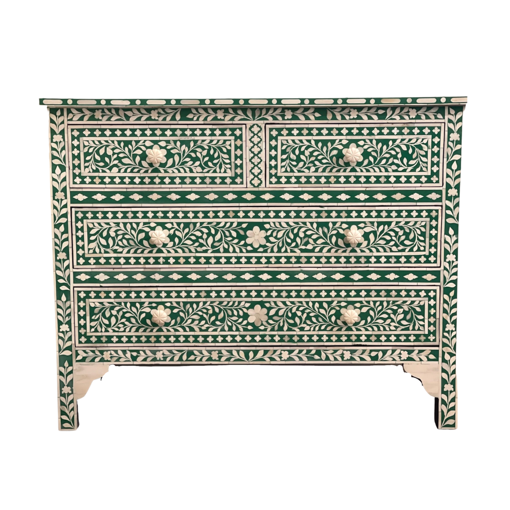 Shop Bone Inlay 2 Drawer Chest | Green at Rose St Trading Co