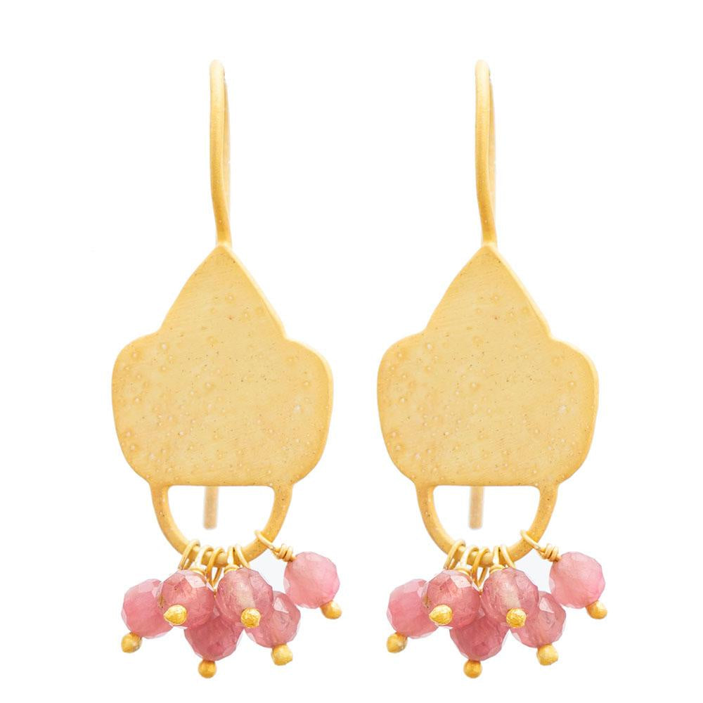 Shop Gold plate Pink Tourmaline Shield Earrings at Rose St Trading Co