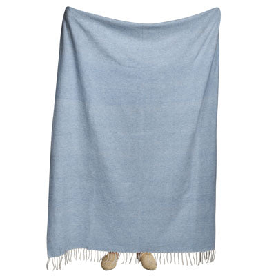 Shop Lambswool Throw- Sky Blue at Rose St Trading Co