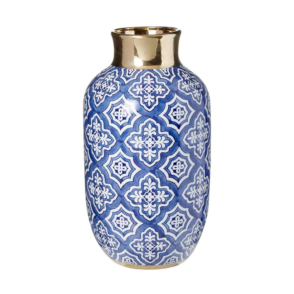 Shop Tangier Bottle Neck Vase | Blue + White at Rose St Trading Co