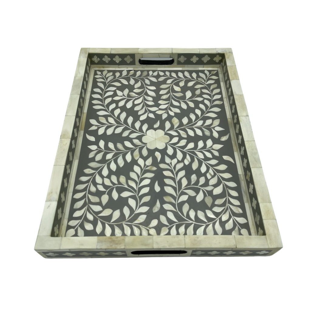 Shop Bone Inlay Tray | Grey Floral at Rose St Trading Co