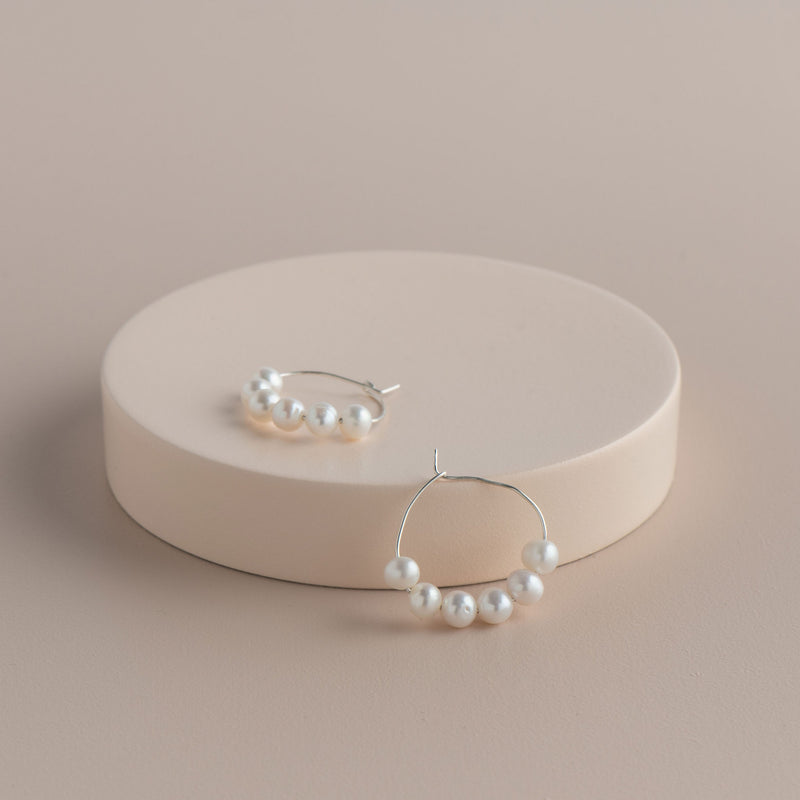 Shop 6 Pearl Hoop Earring at Rose St Trading Co