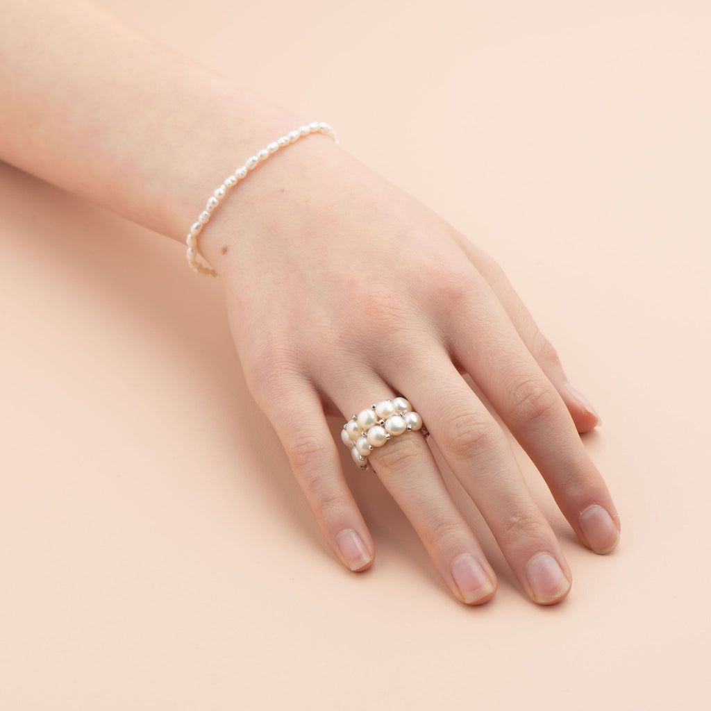 Shop Pearl Two Row Ring at Rose St Trading Co
