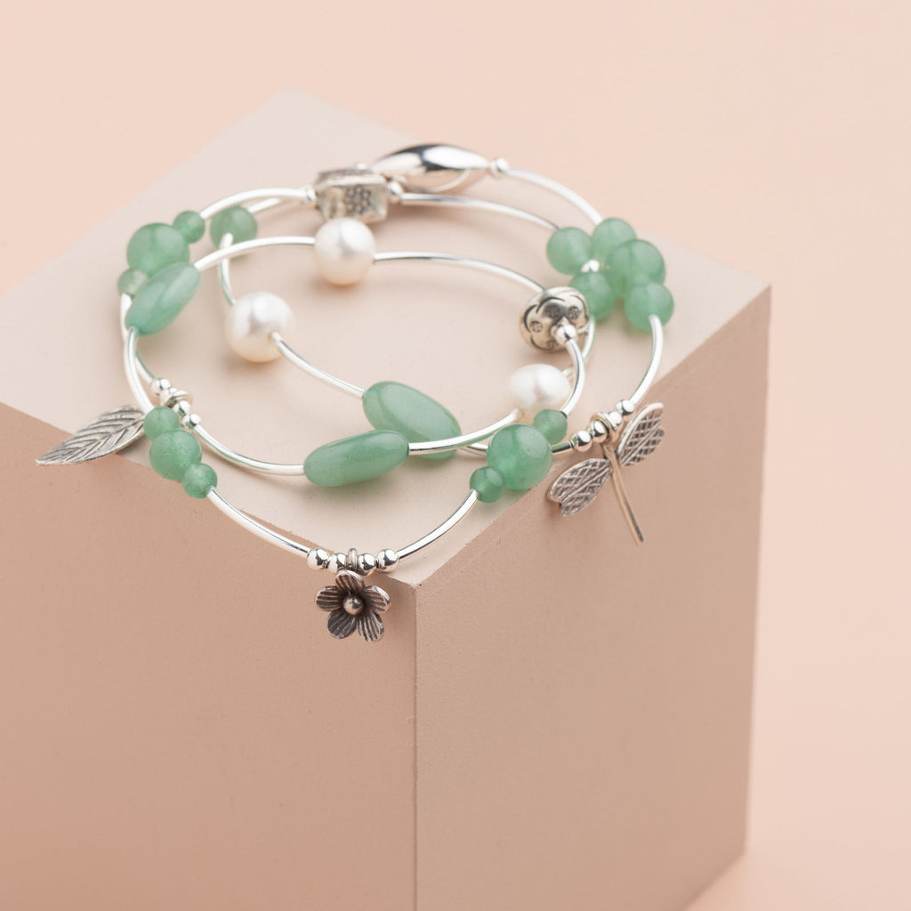 Shop Set of 3 Sterling & Semi Precious Charm Bracelets at Rose St Trading Co