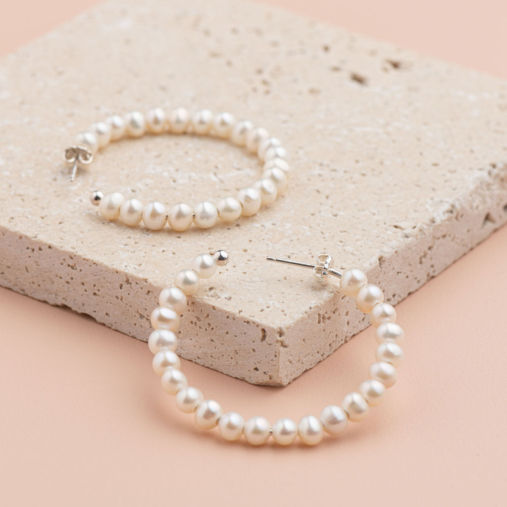 Shop Pearl 40mm Seed Pearl Hoop Earring at Rose St Trading Co