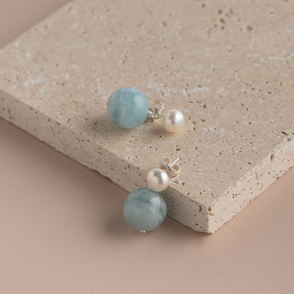 Shop Pearl Stud with Semi Precious Drop Earring | Aquamarine at Rose St Trading Co