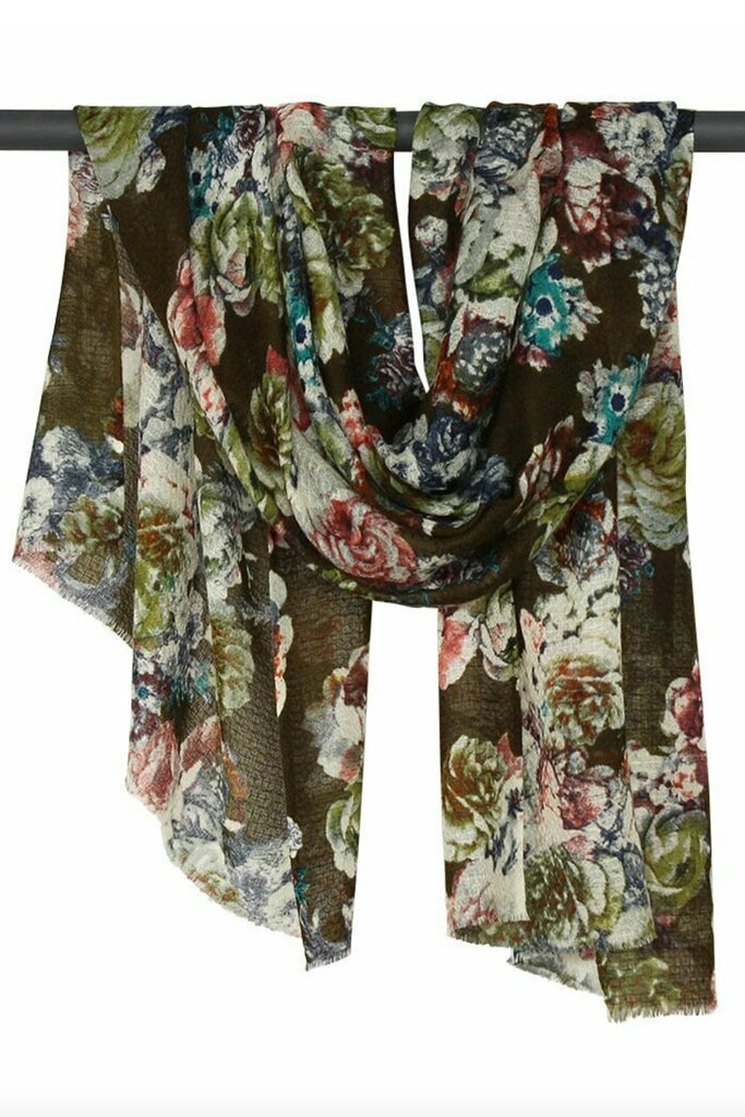 Shop Polly Wool / Silk Flower Print | Green at Rose St Trading Co