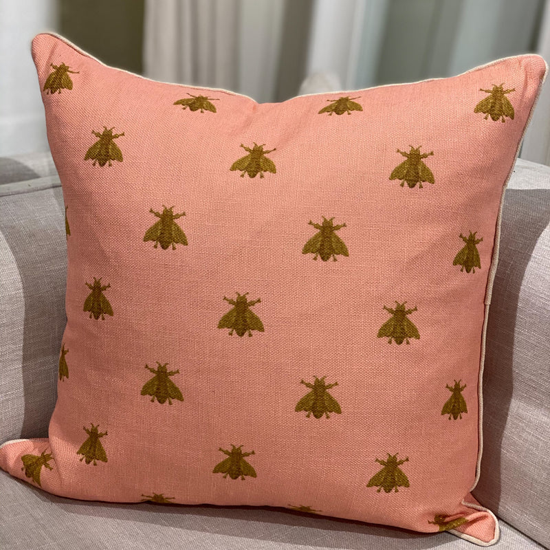 Shop Pink Bee Cushion at Rose St Trading Co