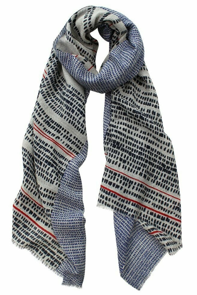 Shop Dallas Dobby Weave Printed Scarf | Navy at Rose St Trading Co