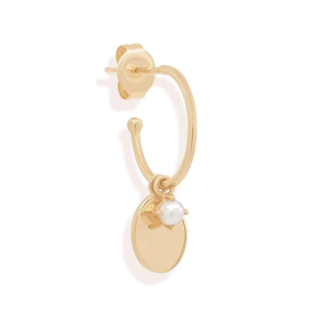 Shop 14k Gold Peaceful Moon Hoops at Rose St Trading Co