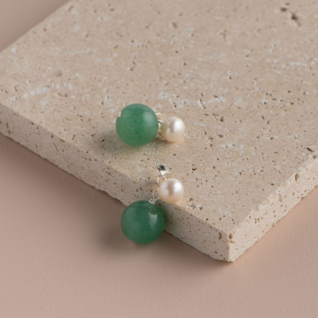 Shop Pearl Stud with Semi Precious Drop Earring | Green Jade at Rose St Trading Co